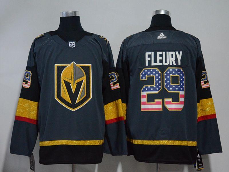 Mens Nhl Vegas Golden Knights #29 Marc-andre Fleury Gray (usa Flag Fashion) Adidas Jersey