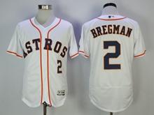 Mens Majestic Houston Astros #2 Bregman White Flex Base Jersey