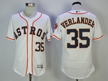 Mens Majestic Houston Astros #35 Verlander White Flex Base Jersey