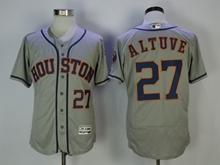 Mens Majestic Houston Astros #27 Jose Altuve Gray Flex Base Jersey