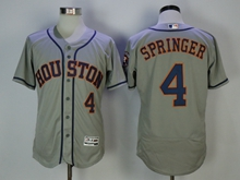 Mens Majestic Houston Astros #4 Springer Gray Flex Base Jersey