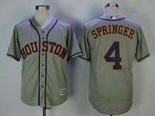 Mens Mlb Houston Astros #4 Springer Gray Cool Base Jersey