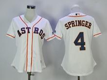 Women Mens Mlb Houston Astros #4 Springer White Jersey
