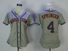 Women Mens Mlb Houston Astros #4 Springer Gray Jersey