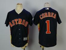 Youth Mlb Houston Astros #1 Carlos Correa Dark Blue Jersey