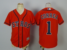 Youth Mlb Houston Astros #1 Carlos Correa Orange Jersey