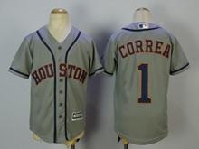 Youth Mlb Houston Astros #1 Carlos Correa Gray Jersey