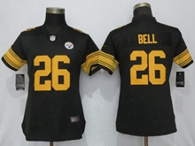 Women Nfl Pittsburgh Steelers #26 Le'veon Bell Black Color Rush Elite Jersey