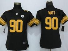 Women Nfl Pittsburgh Steelers #90 T. J. Watt Black Color Rush Elite Jersey