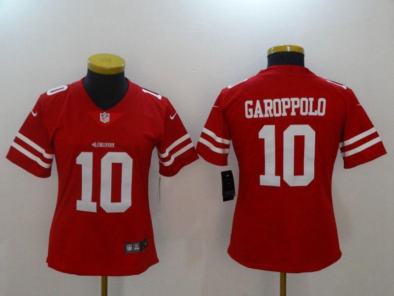 Women San Francisco 49ers #10 Jimmy Garoppolo Red Vapor Untouchable Limited Jersey