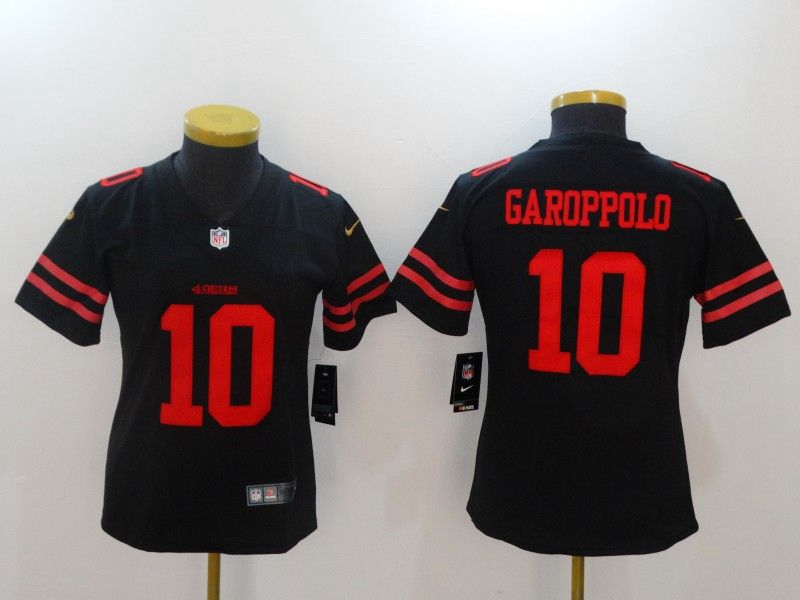 Women San Francisco 49ers #10 Jimmy Garoppolo Black Vapor Untouchable Limited Jersey
