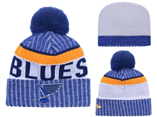 Mens Nhl St.louis Blues Blue & Gray Stripe Beanies Hats Pom On Top