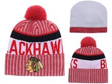 Mens Nhl Chicago Blackhawks Red & Gray Stripe Beanies Hats Pom On Top