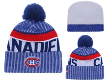 Mens Nhl Montreal Canadiens Blue & Gray Stripe Beanies Hats Pom On Top
