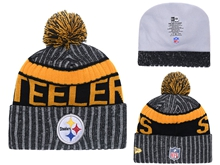 Mens Nfl Pittsburgh Steelers Yellow & Gray Stripe Beanies Hats Pom On Top