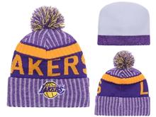 Mens Nfl Los Angeles Lakers Purple & Gray Stripe Beanies Hats Pom On Top