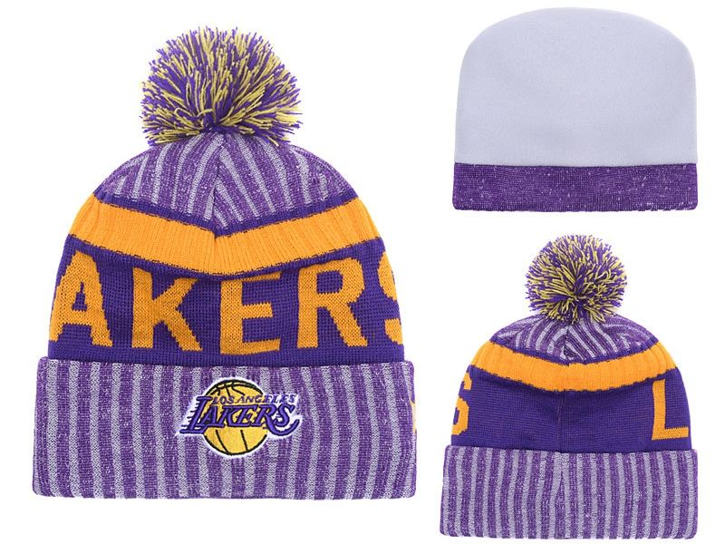 Mens Nfl Los Angeles Lakers Purple & Gray Stripe Beanies Hats Pom On Top
