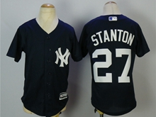 Youth Mlb New York Yankees #27 Giancarlo Stanton Blue Cool Base Jersey