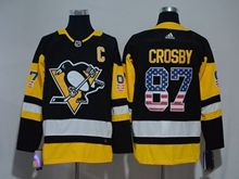 Mens Nhl Pittsburgh Penguins #87 Sidney Crosby Black (usa Flag Fashion) Adidas Jersey