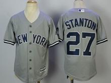 Youth Mlb New York Yankees #27 Giancarlo Stanton Gray Cool Base Jersey