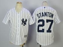 Youth Mlb New York Yankees #27 Giancarlo Stanton White Cool Base Jersey