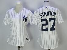 Women Mlb New York Yankees #27 Giancarlo Stanton White Jersey
