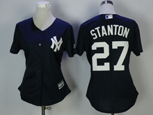 Women Mlb New York Yankees #27 Giancarlo Stanton Blue Jersey