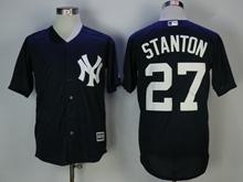 Mens Mlb New York Yankees #27 Giancarlo Stanton Blue Cool Base Jersey
