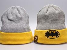 Batman Cartoon Beanies Gray & Yellow Winter Knitted Snapback Hats