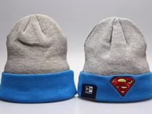 Superman Cartoon Beanies Gray & Blue Winter Knitted Snapback Hats