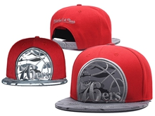 New Mens Nba Philadelphia 76ers Red Mitchell&ness Snapback Hats