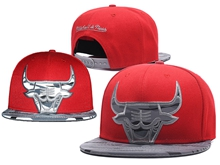 New Mens Nba Chicago Bulls Red Mitchell&ness Snapback Hats