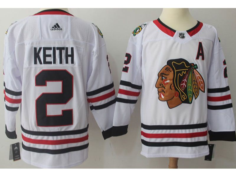 Mens Nhl Chicago Blackhawks #2 Duncan Keith White Adidas Jersey