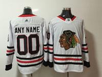 Mens Nhl Chicago Blackhawks Custom Made White Adidas Jersey