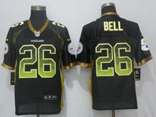 New Mens Pittsburgh Steelers #26 Le'veon Bell Drift Fashion Black Nike Elite Jersey