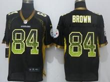 New Mens Pittsburgh Steelers #84 Antonio Brown Drift Fashion Black Nike Elite Jersey