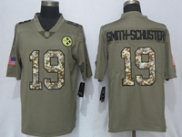 Mens Nfl Pittsburgh Steelers #19 Smith-schuster Olive Green 2017 Olive Salute To Service Limited Camo Number Jersey