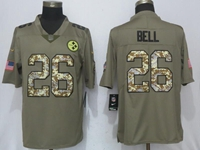 Mens Nfl Pittsburgh Steelers #26 Le'veon Bell Olive Green 2017 Olive Salute To Service Limited Camo Number Jersey