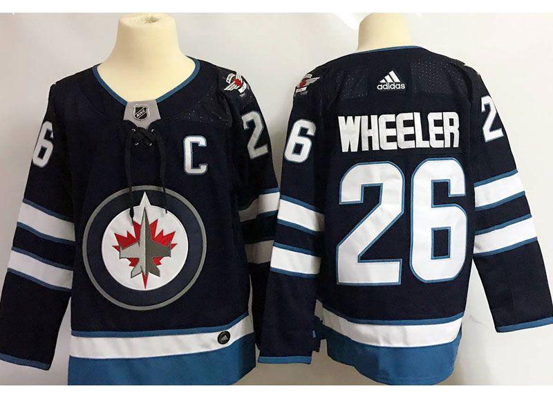 Mens Nhl Winnipeg Jets #26 Blake Wheeler (c) Dark Blue Adidas Jersey