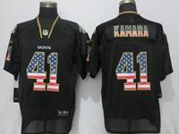 Mens New Orleans Saints #41 Alvin Kamara Black Usa Flag Fashion Elite Jersey