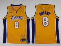 Mens Nba Los Angeles Lakers #8 Bryant Yellow Retirement Commemorative Nike Jersey