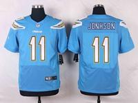 Mens Nfl Los Angeles Chargers #11 Stevie Johnson Light Blue Elite Nike Jersey