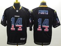 Mens Nfl San Diego Chargers #14 Dan Fouts Usa Black Flag Fashion Elite Jerseys