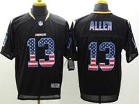 Mens Nfl San Diego Chargers #13 Keenan Allen Usa Black Flag Fashion Elite Jerseys