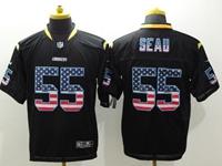 Mens Nfl San Diego Chargers #55 Junior Seau Usa Black Flag Fashion Elite Jerseys
