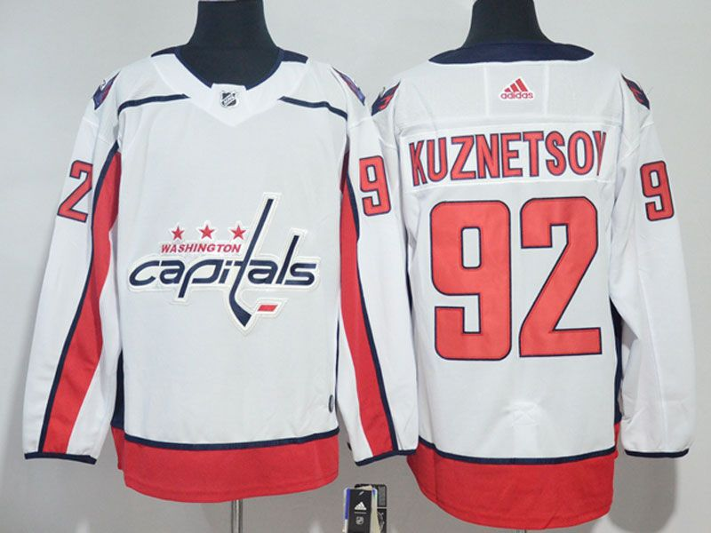 Mens Nhl Washington Capitals #92 Evgeny Kuznetsov White Adidas Jersey