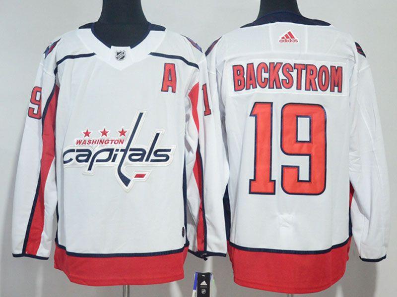 Mens Nhl Washington Capitals #19 Nicklas Backstrom (a) White Adidas Jersey