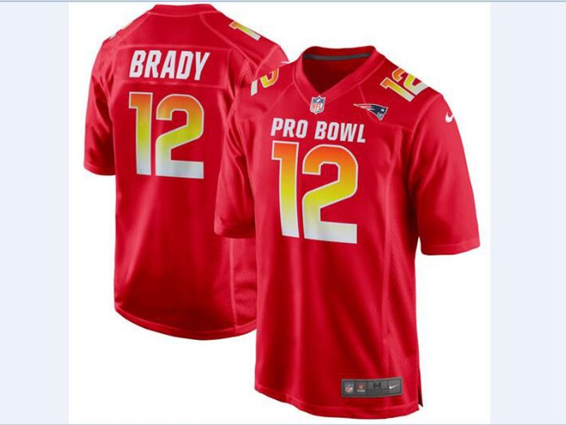 Mens Afc Nfl New England Patriots #12 Tom Brady Red 2018 Pro Bowl Game Nike Jersey