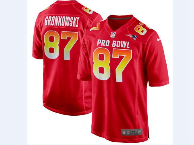 Mens Afc Nfl New England Patriots #87 Rob Gronkowski Red 2018 Pro Bowl Game Nike Jersey