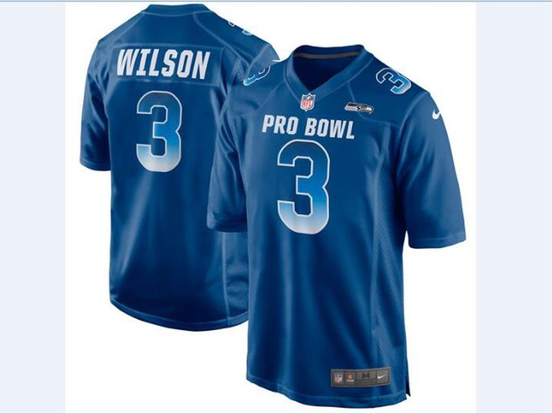 Mens Nfc Nfl Seattle Seahawks #3 Russell Wilson Blue 2018 Pro Bowl Game Nike Jersey